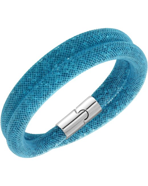 Swarovski   Blue Palladium-plated Double Wrap Bracelet   Lyst