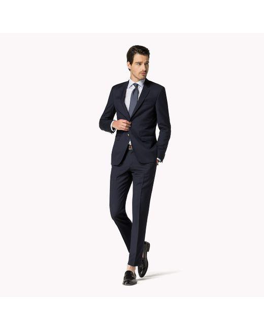Tommy Hilfiger | Blue Steel Wool Slim Fit Trousers for Men | Lyst