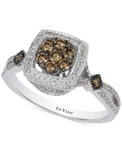 Le Vian | Metallic Chocolatier® Chocolate And White Halo Diamond Ring (3/4 Ct. T.w.) In 14k White Gold | Lyst