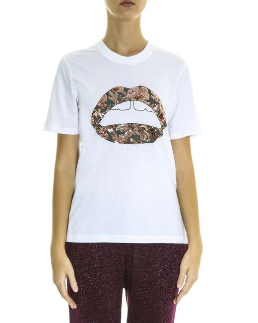 Markus Lupfer Lara Lip T Shirt In White Lyst