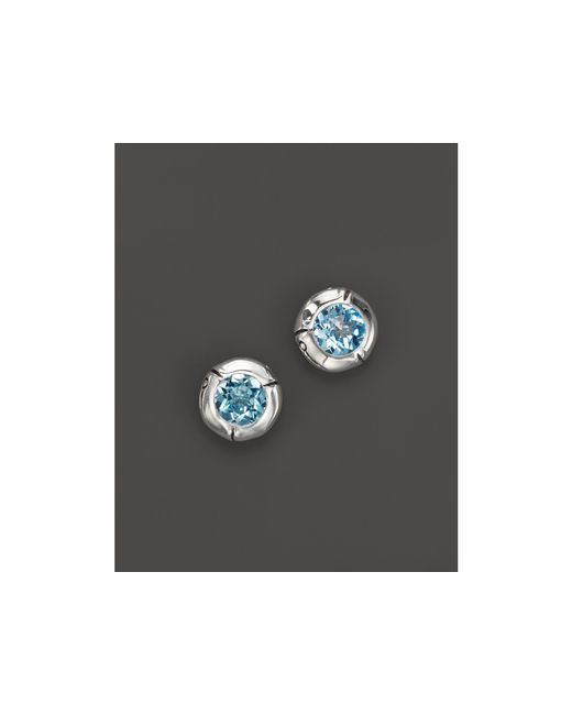John Hardy | Metallic Sterling Silver Bamboo Small Round Stud Earrings With Sky Blue Topaz | Lyst