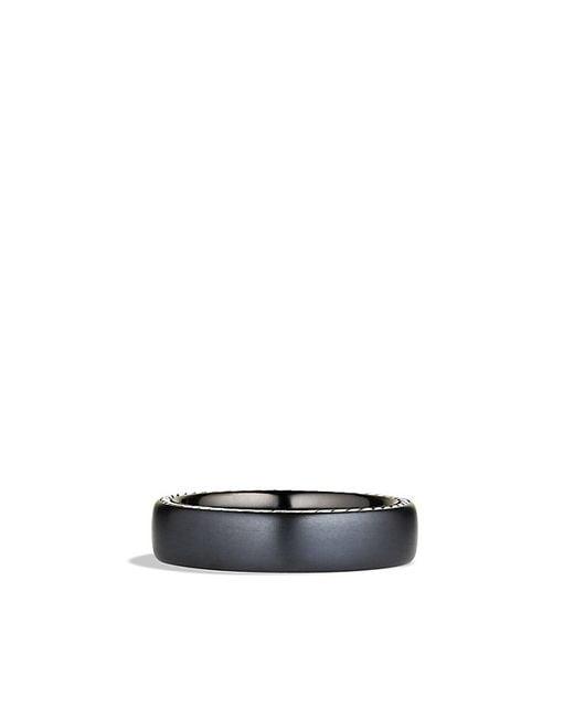 David Yurman | Streamline Narrow Band Ring With Black Titanium, 6mm for Men | Lyst