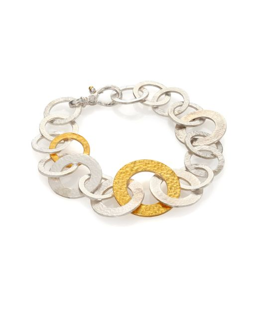 Gurhan | Metallic Hoopla 24k Yellow Gold & Sterling Silver Mixed All-around Bracelet | Lyst
