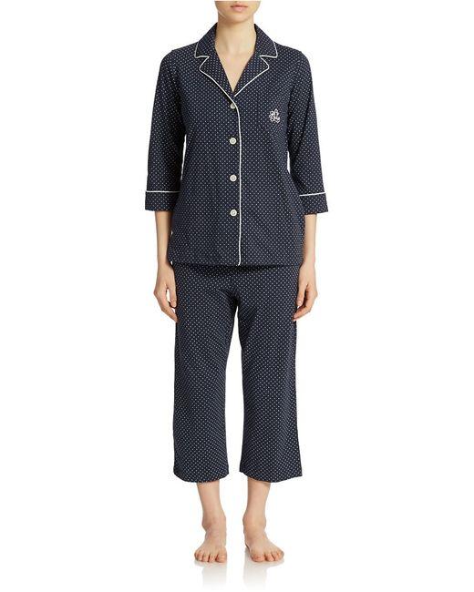 Lauren by Ralph Lauren | Blue Essentials Bingham Knits Capri Pj Set | Lyst