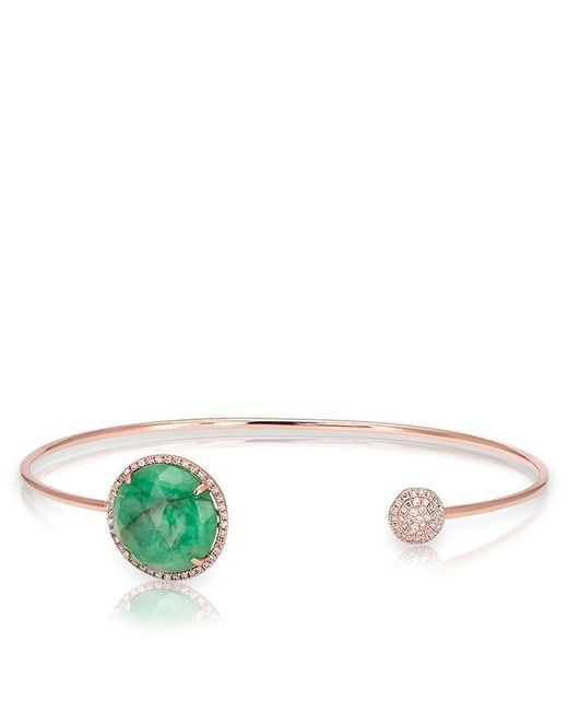 Anne Sisteron | Green 14kt Rose Gold Emerald And Diamond Disc Bracelet | Lyst