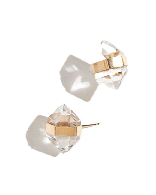 Melissa Joy Manning | Metallic Bezel Wrapped Large Herkimer Diamond Earrings | Lyst