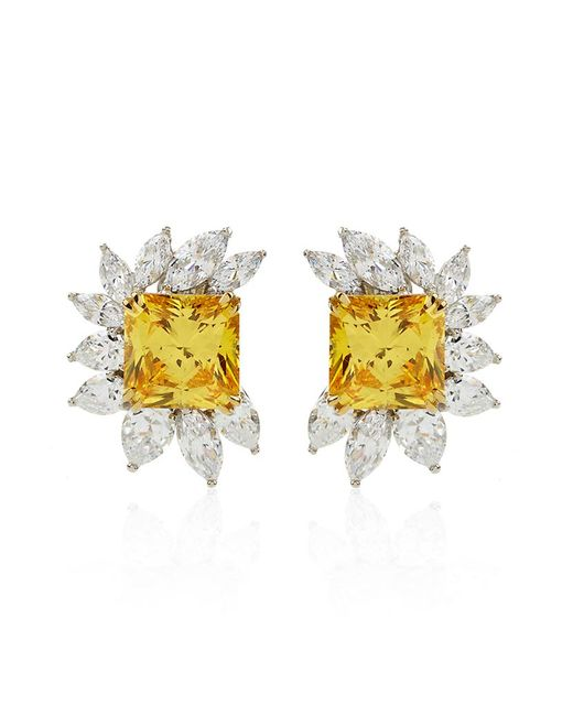 Carat* | Metallic Canary Yellow Floral Cluster Earrings | Lyst