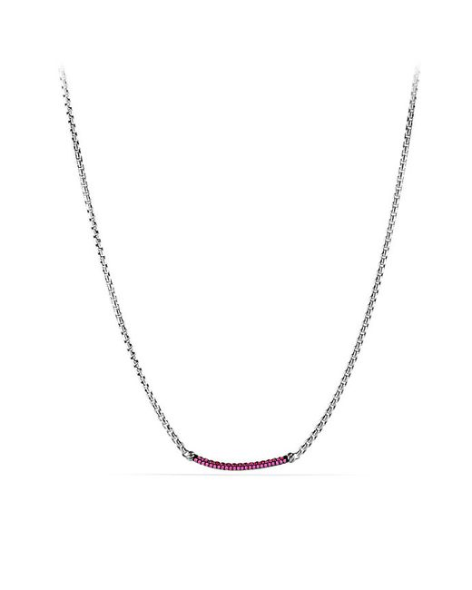 David Yurman | Petite Pavé Metro Chain Necklace With Pink Sapphire | Lyst