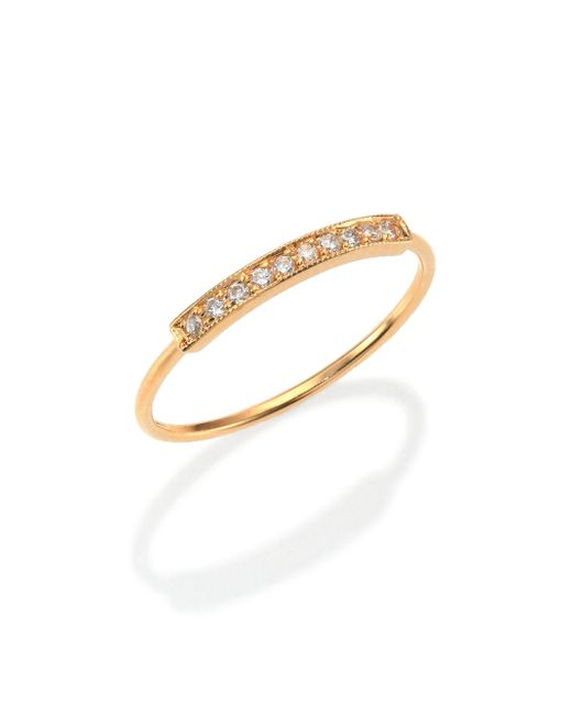 Zoe Chicco | Metallic Pave Diamond & 14k Yellow Gold Horizontal Bar Ring | Lyst