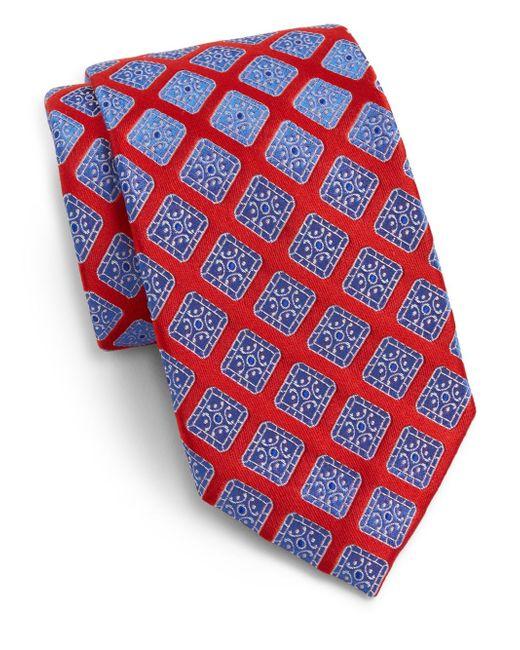 Saks Fifth Avenue | Red Diamond Medallion Silk Tie for Men | Lyst