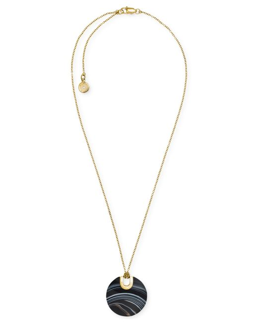 Michael Kors | Metallic Gold-tone Opaque Stone Disc Pendant Necklace | Lyst