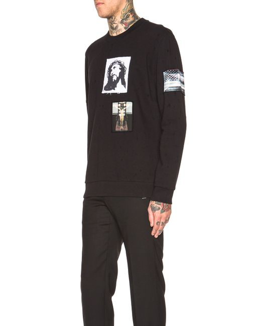 givenchy patch graphic pullover sweatshirt in black lyst. Black Bedroom Furniture Sets. Home Design Ideas