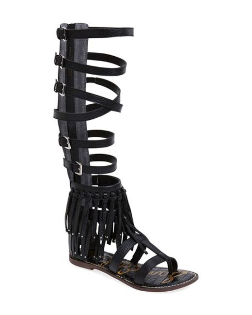 Sam Edelman 'gardenia' Tall Gladiator Fringe Leather