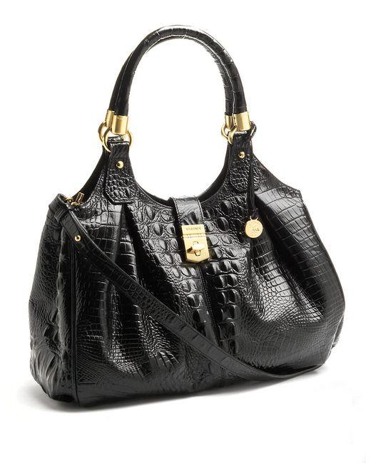 Brahmin | Black Elisa Leather Satchel Bag | Lyst