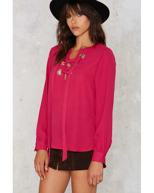 Nasty Gal | Pink In A Bind Lace-up Top | Lyst