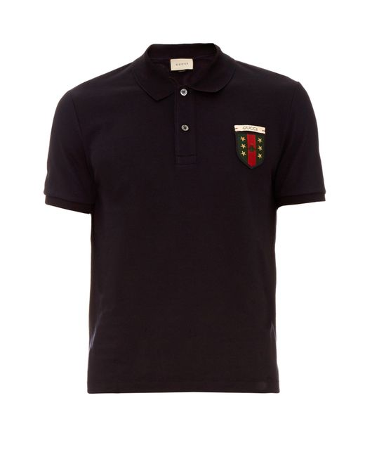 Gucci logo embroidered polo shirt in blue for men lyst for Logo printed polo shirts