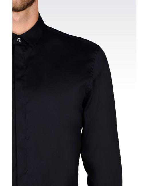 Emporio Armani   Blue Long Sleeve Shirt for Men   Lyst