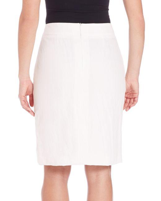pauw cotton linen pencil skirt in white white lyst