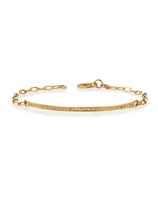Sydney Evan | Metallic 14k Gold Thin Diamond Bar Bracelet | Lyst
