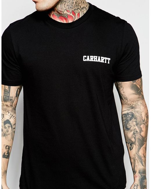 Carhartt wip college script t shirt in black for men for T shirts for college guys