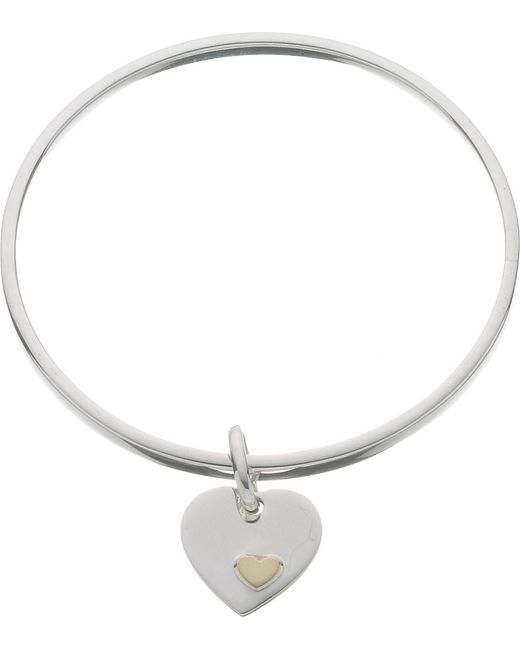 Links of London | Metallic Classic Heart Sterling Silver Bangle | Lyst