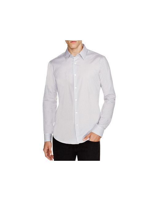 Theory | Gray Sylvain Amicable Gingham Slim Fit Button Down Shirt for Men | Lyst