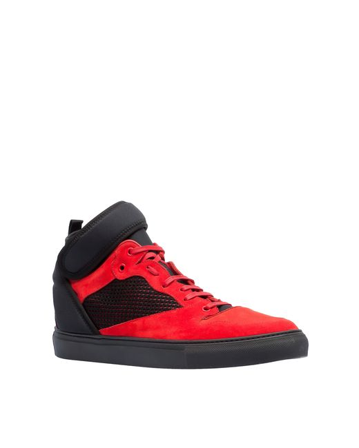 balenciaga neoprene high sneakers in red for men lyst