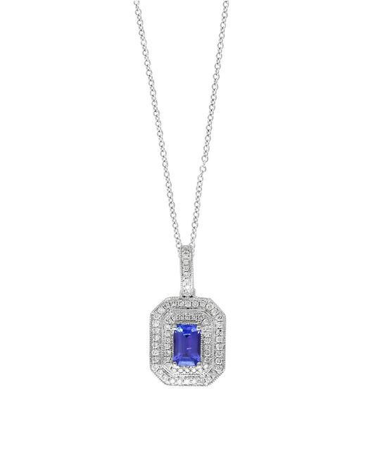 Effy | Blue Tanzanite Royale Diamond And 14k White Gold Pendant Necklace | Lyst