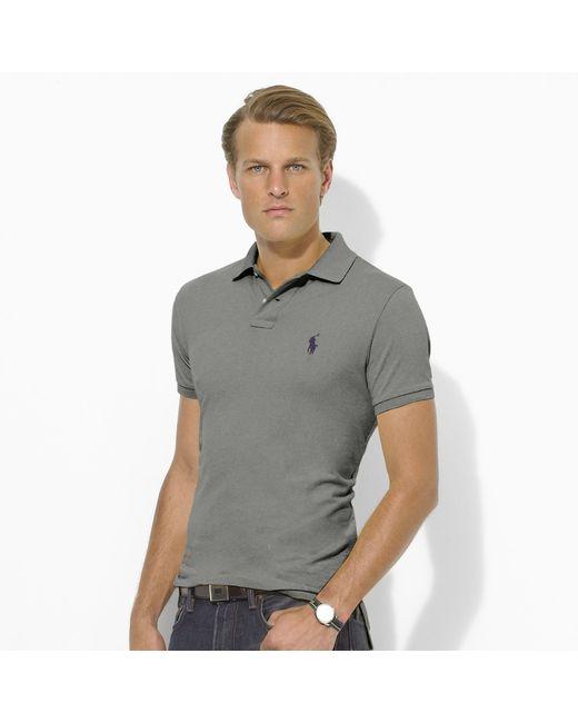 Polo Ralph Lauren | Gray Custom-fit Mesh Polo Shirt for Men | Lyst