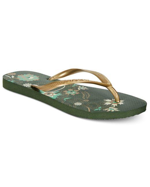 Womens Olive Green Flip Flops