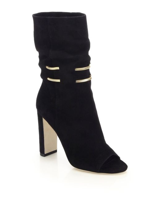 Jimmy Choo | Black Mysen Suede Bootie With Metal Chain Detail | Lyst