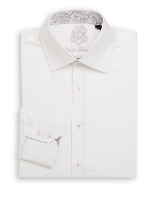 English laundry herringbone dress shirt in white for men for White herringbone dress shirt