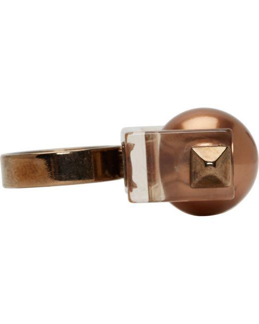 Caterina Zangrando | Metallic Tarnished Brass Studded Resin Ring | Lyst
