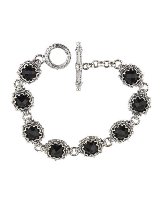 Konstantino | Black Silver Link Bracelet W/ 8 Square Onyx Stations | Lyst