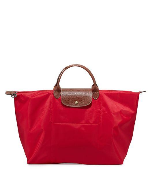 Longchamp Red Le Pliage Nylon Weekender