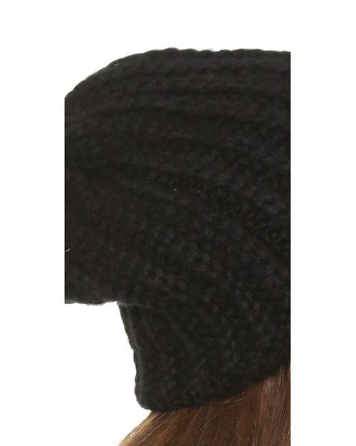 1717 Olive   Black Woven Rib Beanie Hat   Lyst