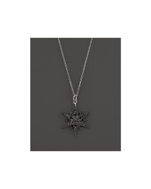 "KC Designs | Black Diamond Starburst Pendant Necklace In 14k White Gold, 18"" | Lyst"