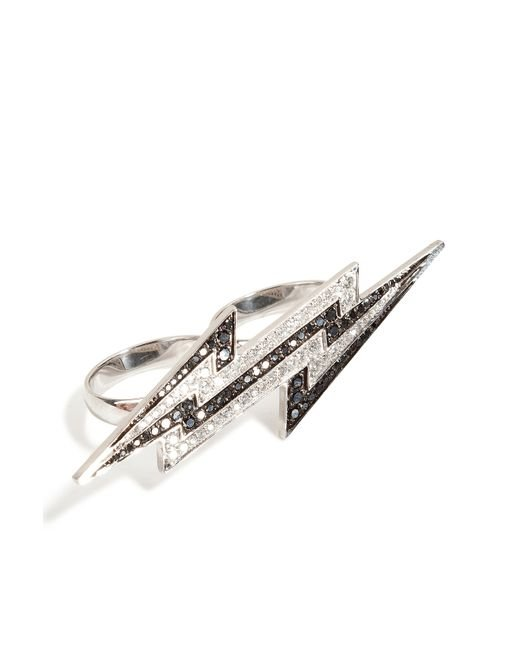 Lynn Ban | Metallic Sterling Silver Lightening Bolt Ring With Diamonds | Lyst