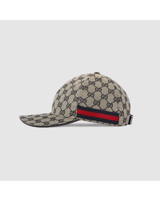 gucci original gg canvas baseball hat with web in gray for