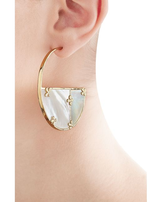 Aurelie Bidermann | Metallic Aurélie Bidermann Bianca 18kt Gold Plated Earrings With Mother Of Pearl - White | Lyst