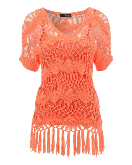 Jane Norman | Orange Crochet Jumper With Fringing Detail | Lyst
