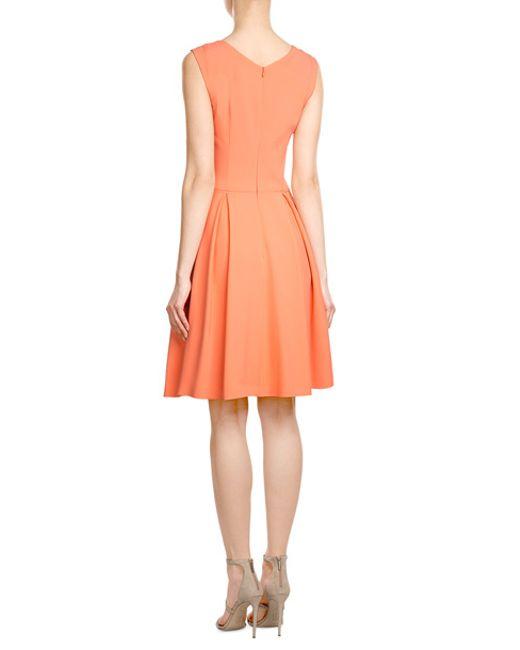 hugo dress with pleated skirt in orange lyst