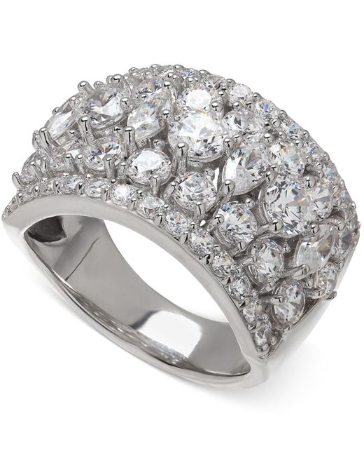 Arabella | Metallic Swarovski Zirconia Pave Ring In Sterling Silver | Lyst