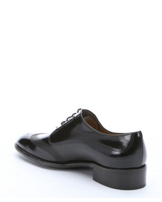 Ferragamo Black Patent Leather Wingtip Oxfords in Black for Men - Save ...
