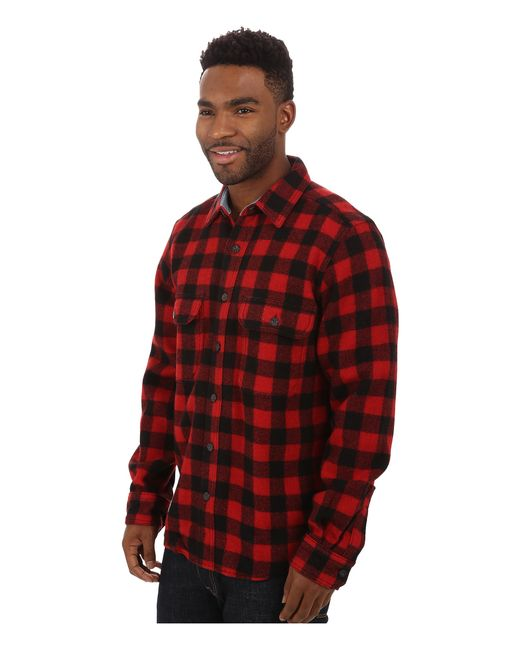 Woolrich wool buffalo shirt in red for men red black lyst for Mens red wool shirt
