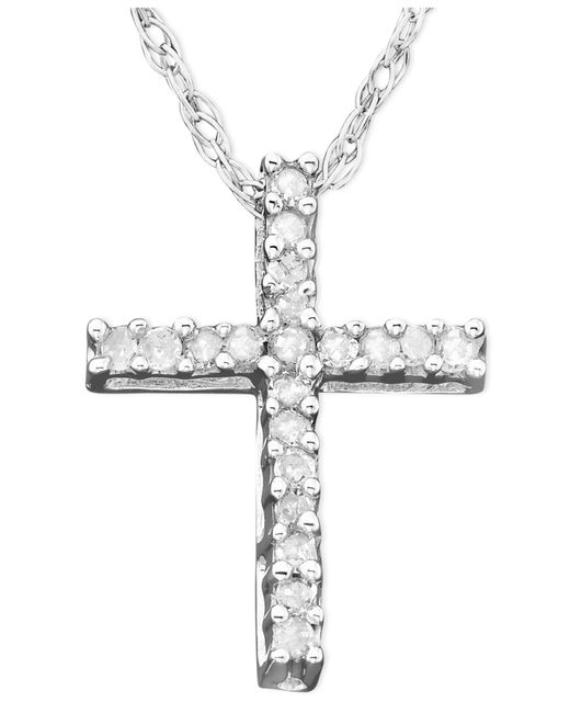 Macy's | Metallic Diamond Cross Pendant Necklace In 14k White Gold (1/10 Ct. T.w.) | Lyst