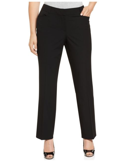 Michael Kors | Black Michael Plus Size Grammercy Straight-leg Trousers | Lyst