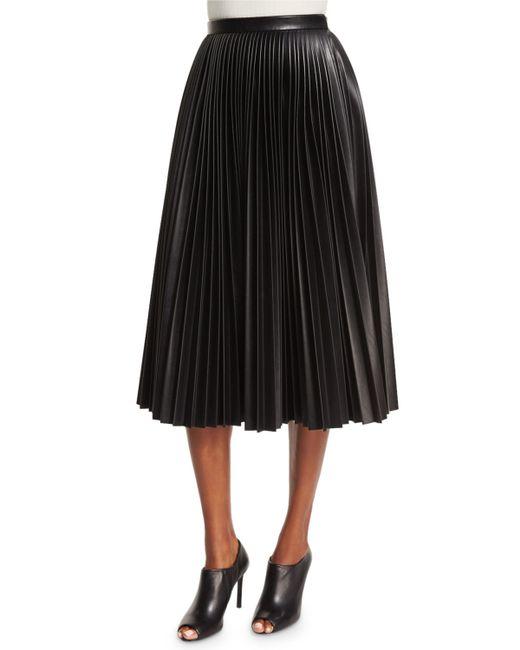 wang high waist faux leather pleated skirt in