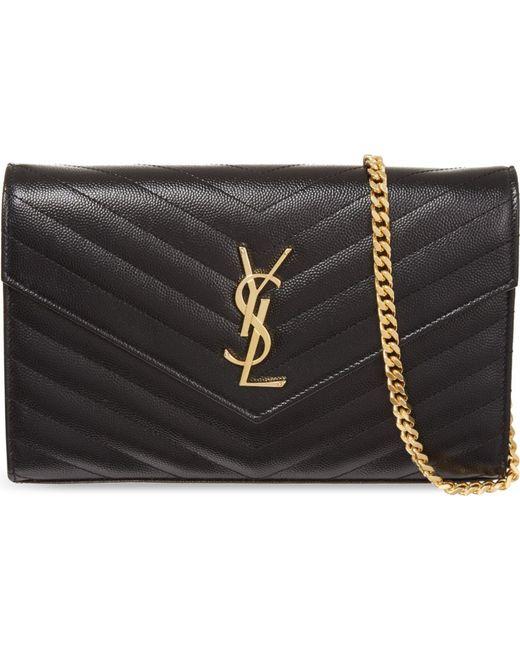 Saint Laurent | Black Monogram Quilted Leather Shoulder Bag | Lyst