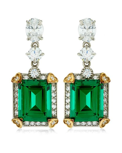 Carat* | Green 4ct Emerald Cut Drop Earrings | Lyst